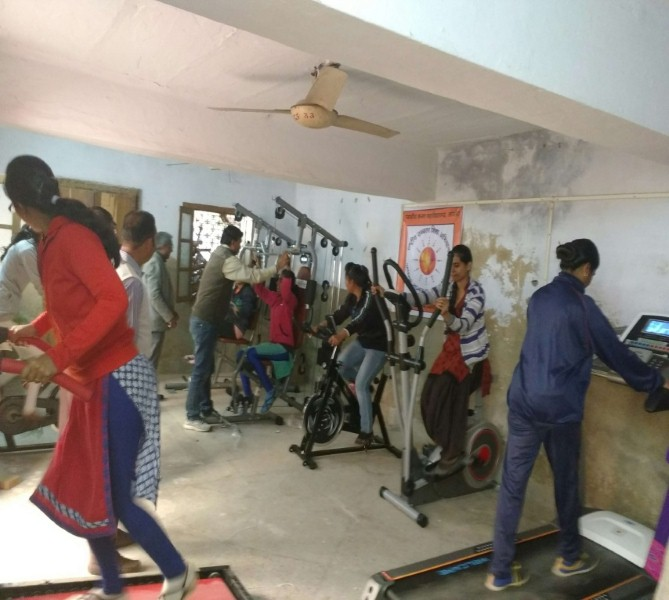 Gymnasium set up at Govt. Girls College, Ajmer